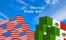 Concept image of USA - Mexico trade war, Economy conflict, US tariffs, Tax, Trade friction. S royalty free illustration