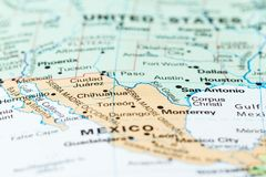 The Mexico USA border. Concept image using a map focusing on the border between the USA and Mexico Royalty Free Stock Image