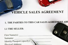 An concept Image of a vehicle sales agreement stock photos