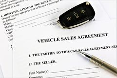 An concept Image of a vehicle sales agreement stock images