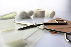 An concept image of wound material, first aid royalty free stock images