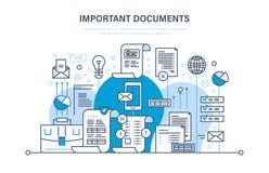 Concept important de documents Les documents d'entreprise, affaires rend compte, travaillant des fichiers d'édition Images libres de droits