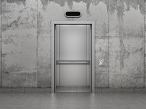 Concept of improving career. Elevator with opened doors in concrete wall Royalty Free Stock Photos