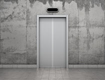 Concept of improving career. Elevator with steel doors in concrete wall Royalty Free Stock Image