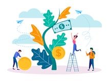 The concept of income growth, young people collect dividends from the growth of a successful business. Vector illustration for social media marketing, posters vector illustration