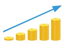 The concept of income or profit. Vector illustration. Stack of g. Stack of gold coins. The concept of income or profit. Vector illustration Stock Photo