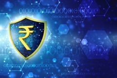 Concept of Indian Rupee Protection. Business Concept. 3d render. Indian Rupee symbol on Golden shield isolated on digital background. 3d illustration Royalty Free Stock Images