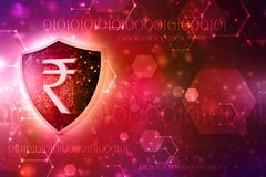 Concept of Indian Rupee Protection. Business Concept. 3d render. Indian Rupee symbol on Golden shield isolated on digital background. 3d illustration Stock Images