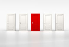 Concept of individuality and opportunity. Red door in row of whi Stock Photo
