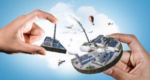Concept of industrial construction. Mixed media Stock Photos