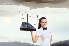 Concept of industrial construction. Mixed media . Mixed media Royalty Free Stock Photography