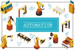 Concept industriel automatisé isométrique de machines illustration de vecteur
