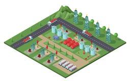 Concept industriel isométrique d'usine de gisement de pétrole