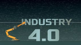 Concept of industry 4.0. Robotic arm that compose the words: industry 4.0, concept of autonomous technology, abstract futuristic background 3d render stock illustration