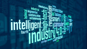 Concept of industry 4.0. Word cloud with terms about industry 4.0, flat style royalty free illustration