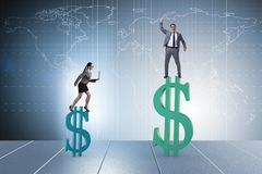 The concept of inequal pay and gender gap between man woman. Concept of inequal pay and gender gap between men woman royalty free stock photos