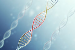 Concept of the infected, patient DNA structure on blue background.3d rendering Stock Photo
