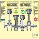 The concept infographic based on the crankshaft. repair Infograp Stock Photos