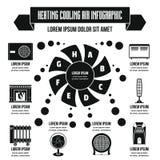 Concept infographic de chauffage d'air frais, style simple Image stock