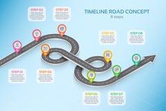 Concept infographic de chronologie de 8 étapes de carte isométrique de navigation illustration stock