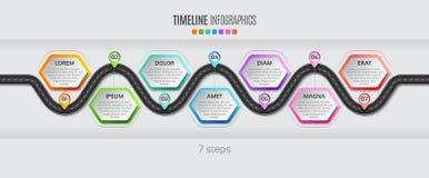 Concept infographic de chronologie de 7 étapes de carte de navigation Illu de vecteur illustration libre de droits