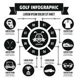Concept infographic de golf, style simple Photos stock