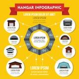 Concept infographic de hangar, style plat Photos stock