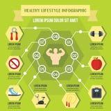 Concept infographic de mode de vie sain, style plat illustration libre de droits