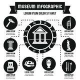 Concept infographic de musée, style simple Photographie stock