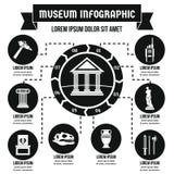Concept infographic de musée, style simple Photographie stock