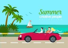 Concept infographic de Web plat de voiture de cabrio de couples de voyage d'été illustration libre de droits