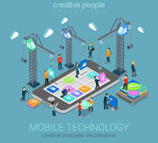 Concept infographic isométrique du Web 3d plat mobile de technologie Image stock