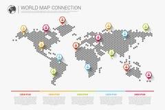 Concept infographic moderne coloré de connexion de carte du monde Vecteur illustration de vecteur