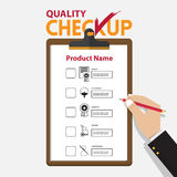 The concept of infographic for product quality on checkup board in flat design. Vector Illustration Royalty Free Stock Photos