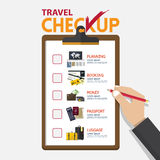 The concept of infographic for travel planning on checkup board in flat design. Hand holding pencil. Vector Illustration Stock Photography