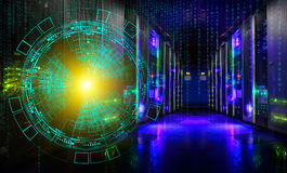 Concept of information technology and big data. technological background of the hologram futuristic server room modern Royalty Free Stock Images