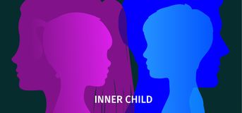 Concept of inner child. Silhouette of a man and woman showing their inner child living in their mind. Flat design, vector illustration Royalty Free Stock Images