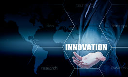 The concept of innovation in business. Businessman working with laptop and tablet. Growth statistics. Increase profits Royalty Free Stock Photography