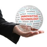 Concept of innovative technology in business. Words on the transparent ball in the hand royalty free stock photos
