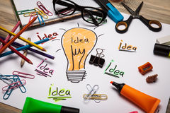 Concept for inspiration. Concept of a light bulb for inspiration Royalty Free Stock Image