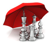 The concept of insurance. Chess Piece with Red Umbrella. 3D Rendering Stock Photo