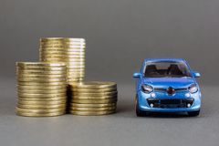 Auto dealership and rental car. Concept of insurance, credit and car purchases, leasing, car loan,  Auto dealership and rental, new car buy. toy car stack of stock image