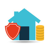 Concept insurance house money security design. Illustration Royalty Free Stock Image