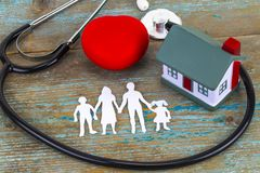 Concept of insurance over a house, Medical Insurance and a famil Royalty Free Stock Images