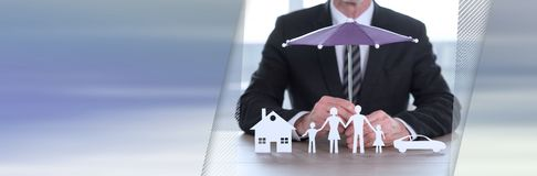 Concept of insured house, family and car. panoramic banner royalty free stock photo