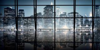 Concept intérieur moderne de scène de nuit d'architecture de NYC Photo stock