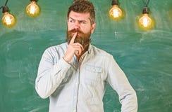 Concept intellectuel de tâche Hippie barbu dans la chemise, tableau sur le fond Type pensant avec l'expression réfléchie photographie stock libre de droits