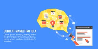 Content marketing - intelligent content strategy. Flat design content banner. Royalty Free Stock Image
