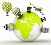 Concept internationaal toerisme Soorten vervoer op een bol Royalty-vrije Stock Foto