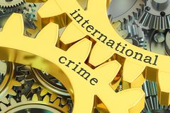 Concept international de crime sur les roues dentées, rendu 3D Photographie stock libre de droits